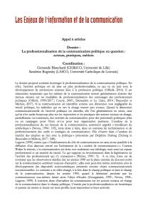 """Appel à article """"La professionnalisation de la communication politique en question : acteurs, pratiques, métiers"""""""